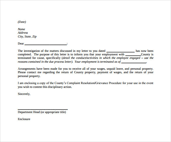 example of termination letter