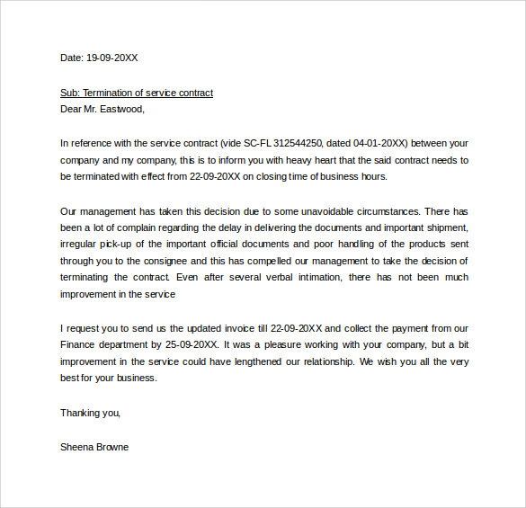 Termination Letter – End of Contract