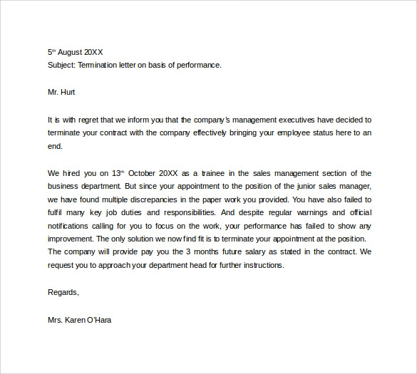 termination letter for performance free download
