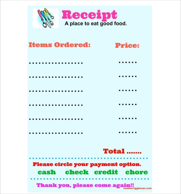 Sample Restaurant Receipt Template 12 Free Documents In