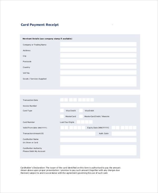 Card Payment Receipt Sample