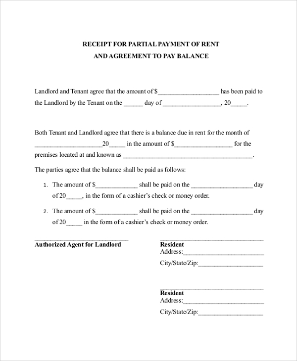Doc499696 Pay Receipt Form Free Receipt Template 87 More – Rental Payment Receipt