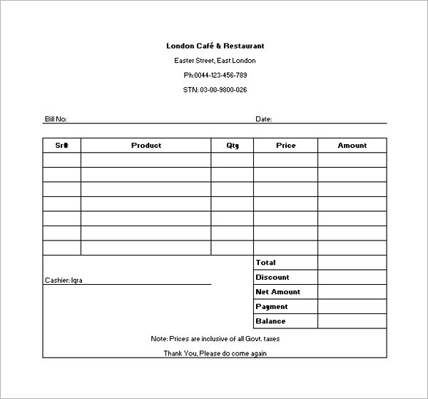 Restaurant Receipt Template In Excel1  Manual Receipt Template