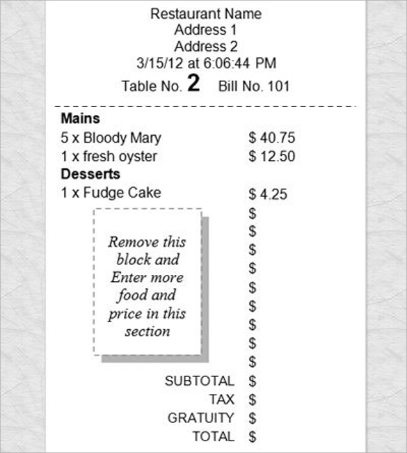 restaurants receipts template