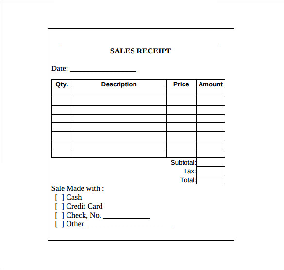 Sales Receipt Template - 10+ Download Free Documents in Word, PDF