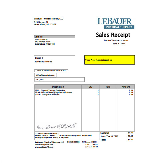 Sample Sales Receipt Template 9 Free Documents in Word PDF – Receipt Examples