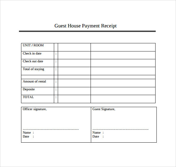 template for receipts of payment