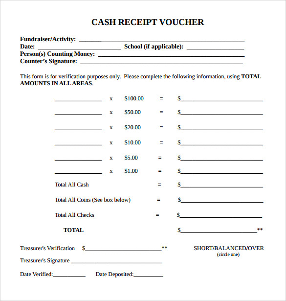 Sample PDF Cash Receipt Template