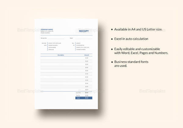 blank receipt template download