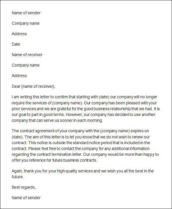 contract termination letter template .
