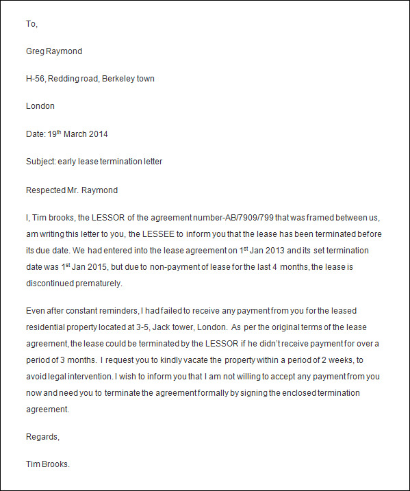 formal termination letter sample employment termination letter ...
