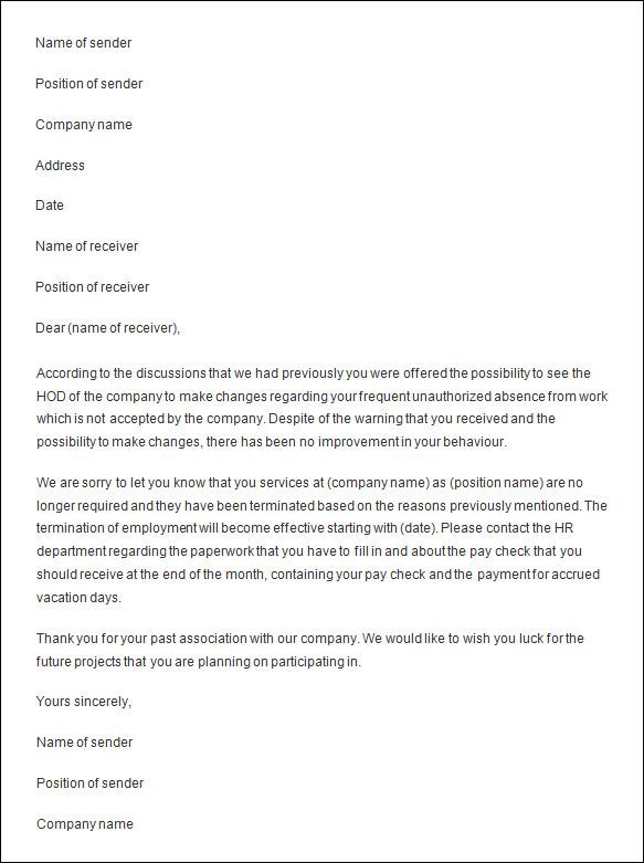 Termination Letter Sample Termination Letter