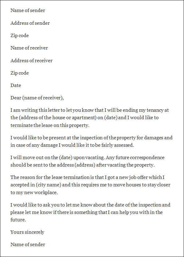 Letter Termination Of Lease  BesikEightyCo