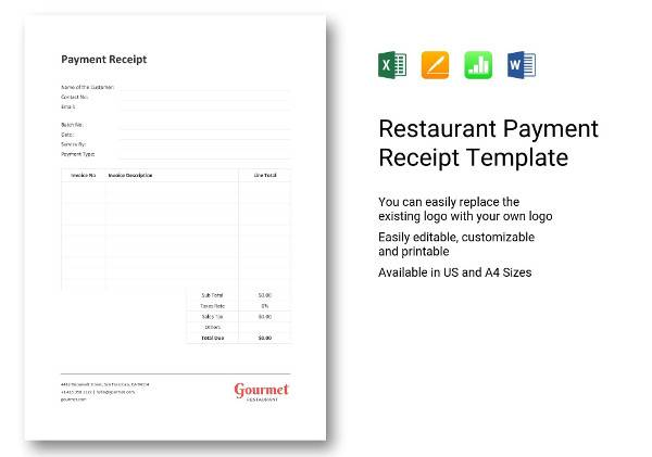 restaurant payment receipt template