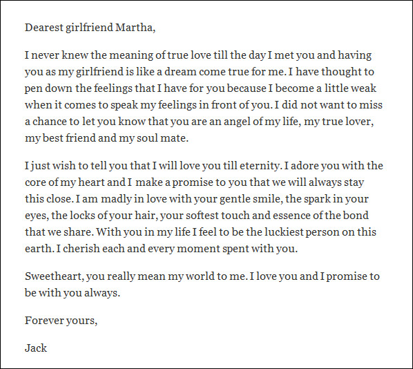 Sample Love Letter for Girlfriend   9  Free Documents in Word yNUqHdeQ