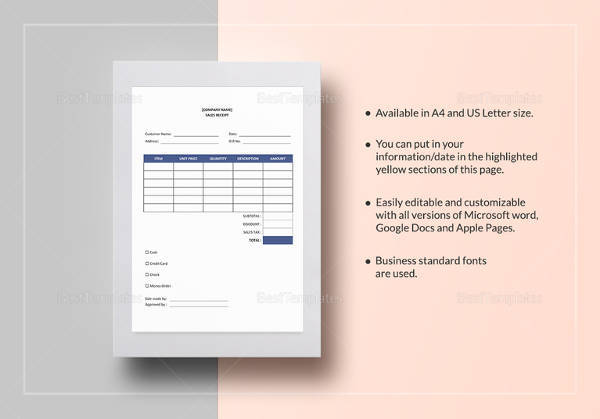 sample sales receipt template 17 free documents in word pdf