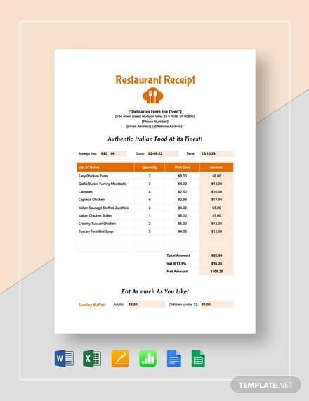 simple restaurant receipt template