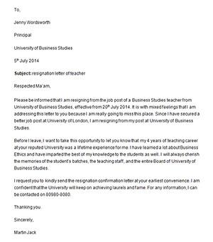 Teacher resignation letter template teacher resignation letter template teacher resignation letter sample altavistaventures Gallery