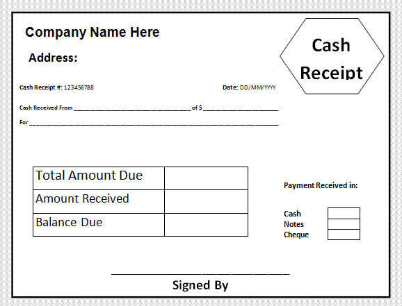 Sample Cash Receipt Template 21 Free Documents in PDF Word – Cheque Receipt Format