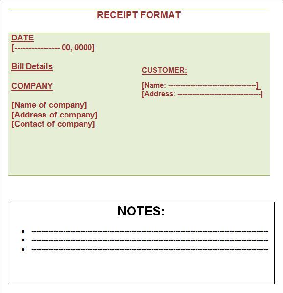 Blank Rent Receipt Samples