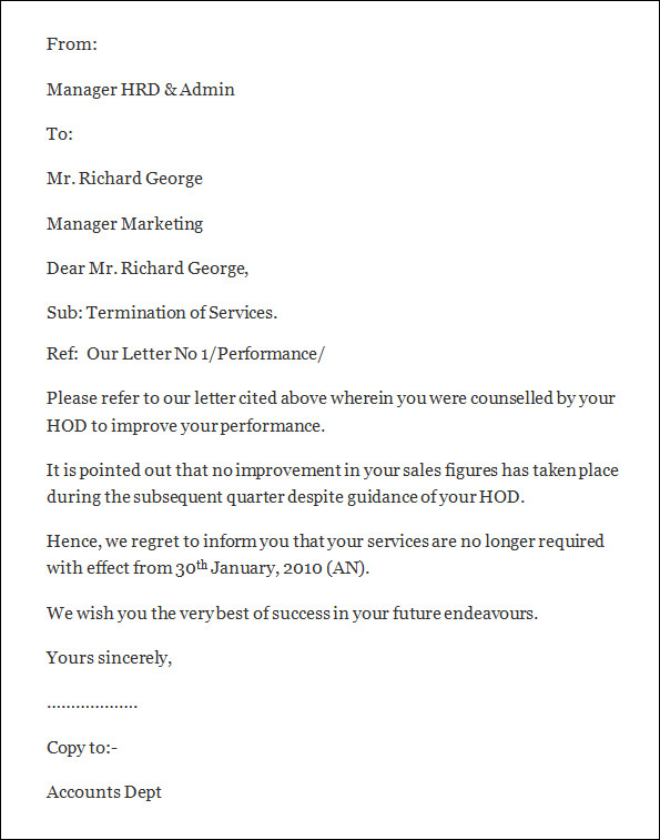 employee letter of termination termination letter template 0343