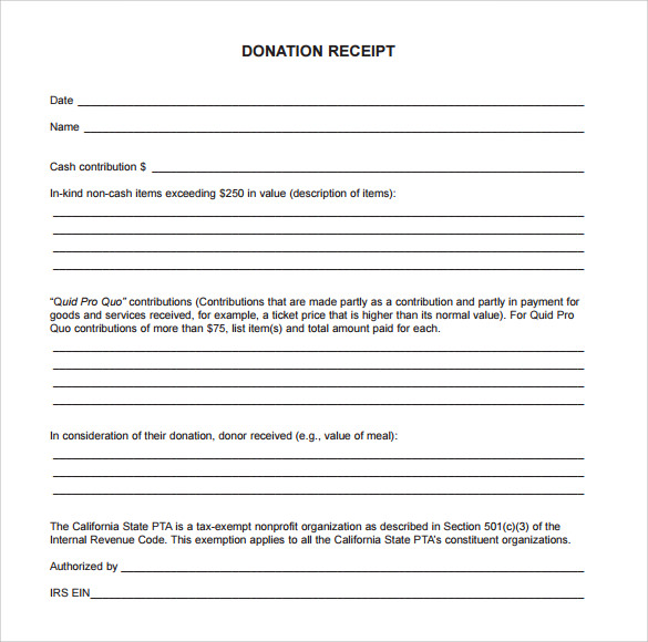 23 Donation Receipt Templates Sample Templates