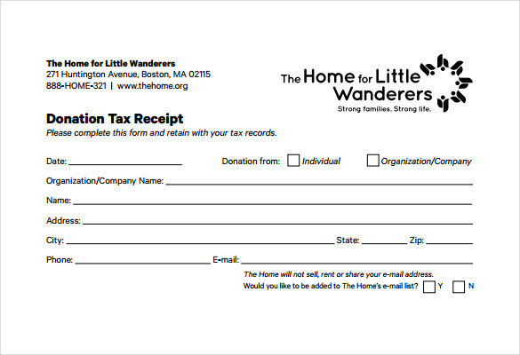 charitable donation tax receipt template