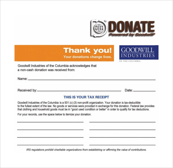 Goodwill Donation Receipt PDF Template Free Download