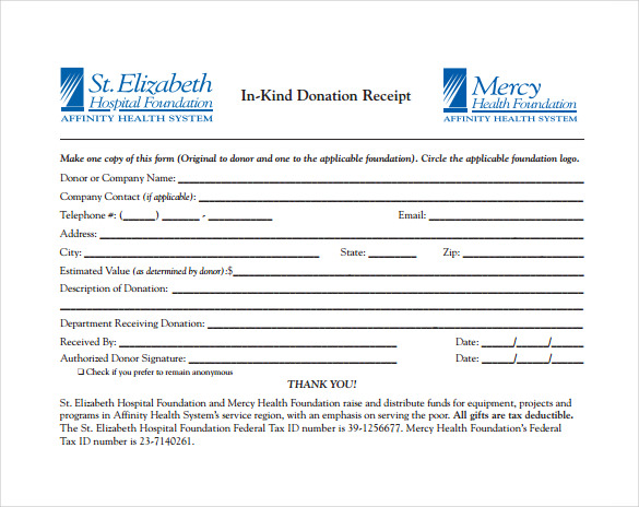 In Kind Donation Receipt PDF Template Free Download  E Receipts Template