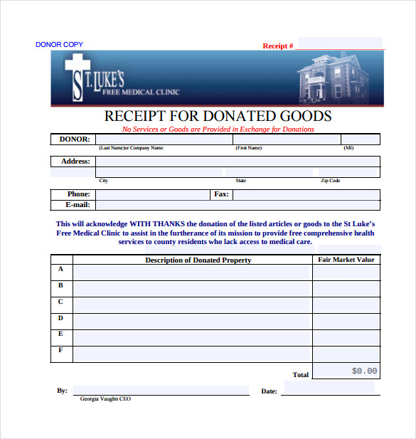 Receipt For Donated Goods PDF Template Free Download