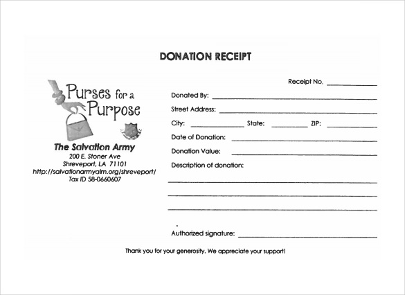 Sample Donation Receipt Template 23 Free Documents in PDF Word
