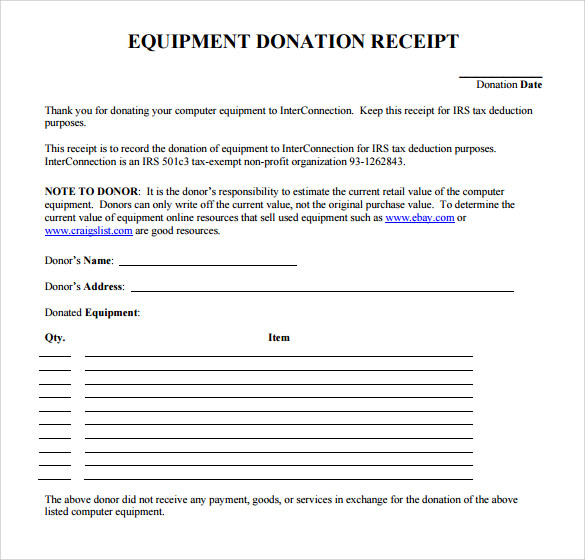 Free Donation Receipt Template Shefftunes