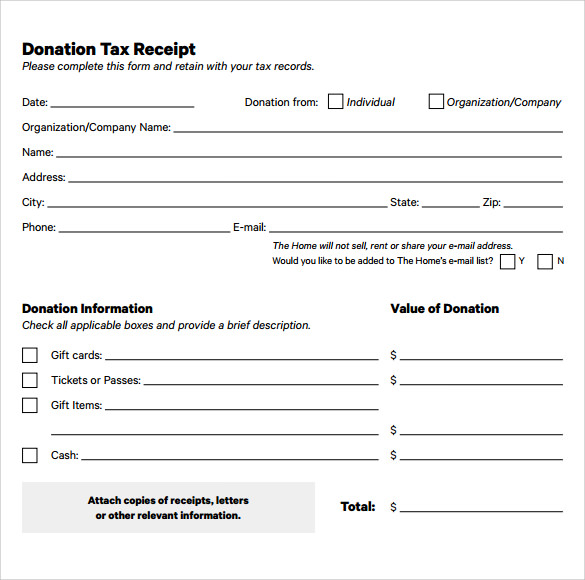 charitable donation letter template