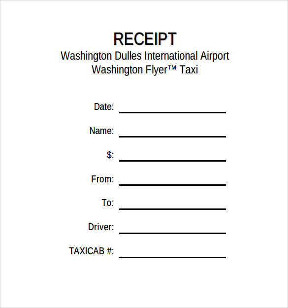 Taxi Receipt Template Example  Blank Receipts Templates