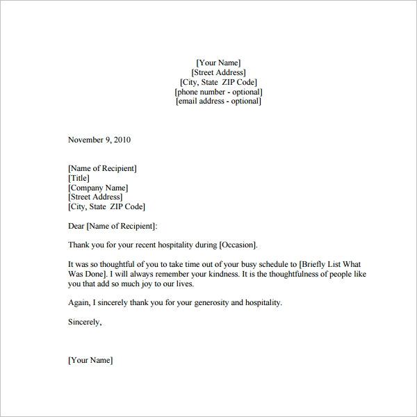 Sample Thank You Note - 9+ Documents In Word, Pdf