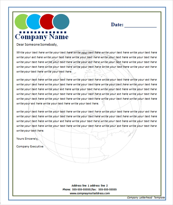 Company Letterhead Template  Business Letterhead Samples