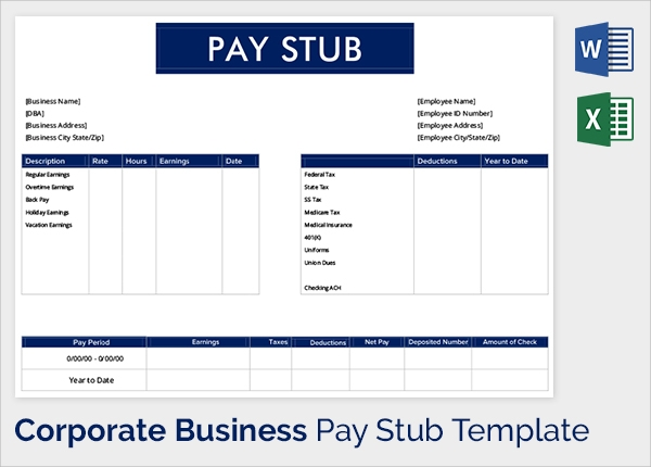 25 Sample Editable Pay Stub Templates to Download | Sample Templates
