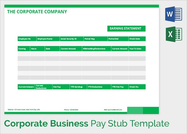 business corporate pay stub template