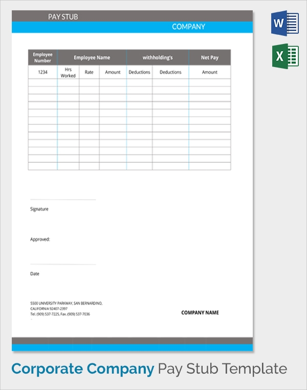company pay stub template