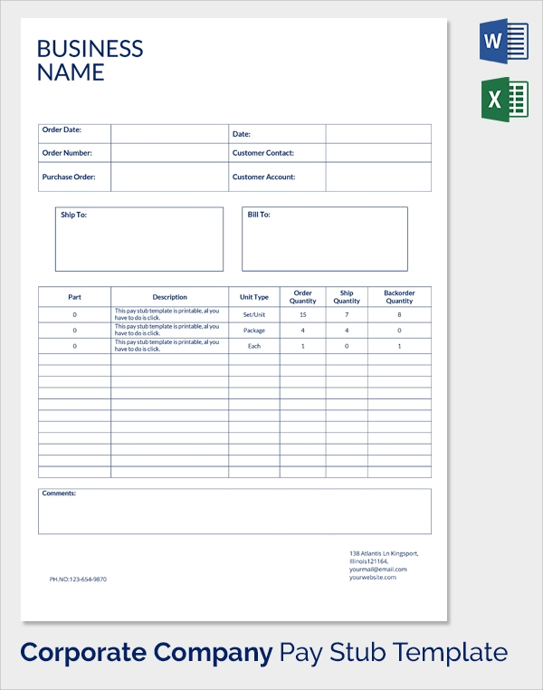 Sample pay stub template 24 download free documents in for Free pay stub template