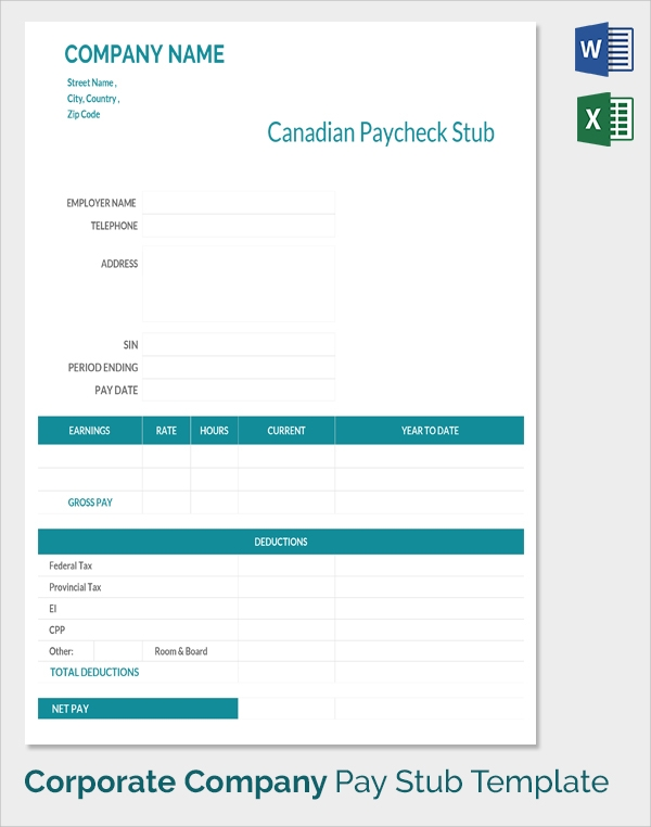 Payment Check Stub Template  Pay Statement Template