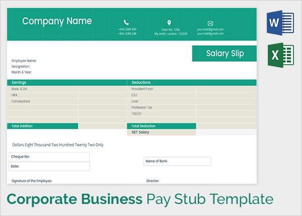 Sample Pay Stub Template 24 Download Free Documents in PDF – Payroll Stubs Templates