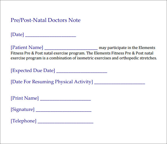 post natal doctors note