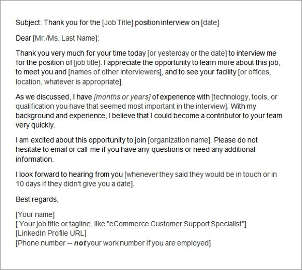 Sample Thank You Letter After Interview 15 Free Documents in – Thank You Email Template