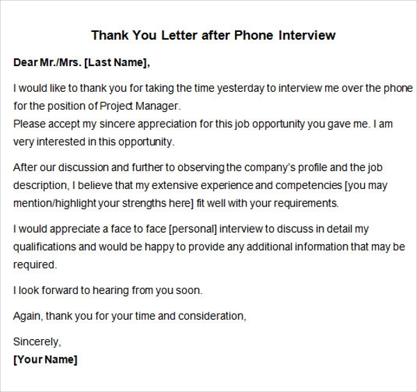 thank you letter after interview sample thank you letter after 15 free 11582 | Thank You Letter after Phone Interview