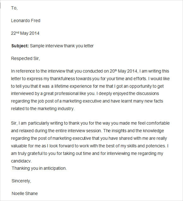 Sample Thank You Letter After Interview 15 Free Documents in – Medical Assistant Thank You Letter