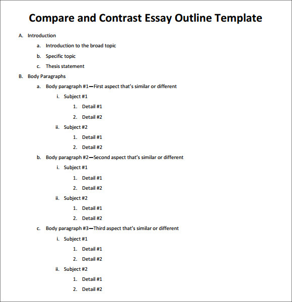 compare contrast literature essay outline The assignment sheet may say exactly what you need to compare, or it may ask you to come up with a basis for comparison yourself provided by the productivity the list you have generated is not yet your outline for the essay, but it should provide you with enough similarities and differences to construct an initial plan.
