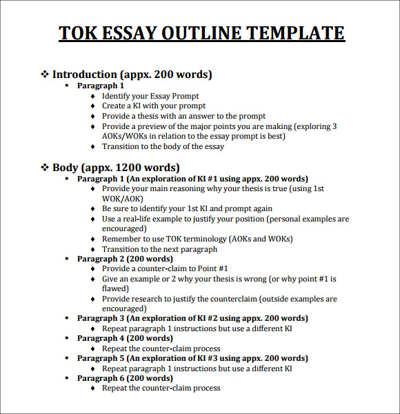 Tok essay outline