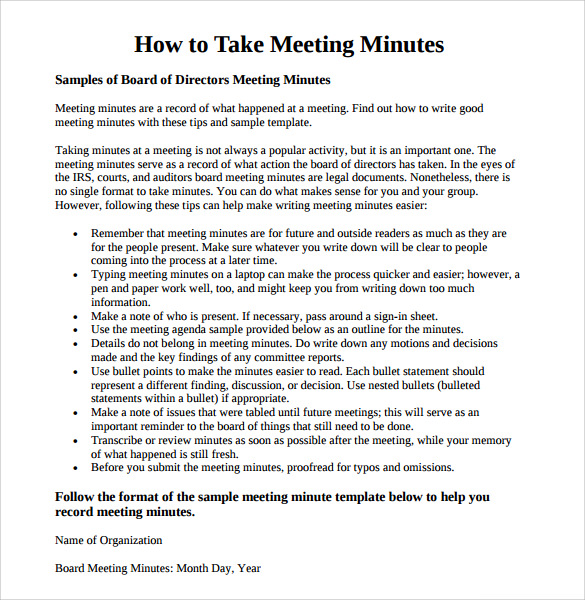 Meeting minutes template 16 download free documents in for How to take meeting minutes template