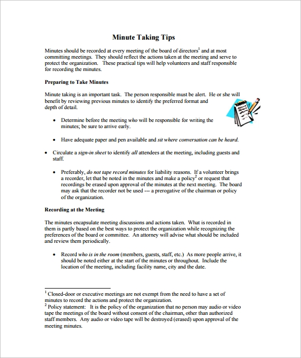 Meeting Minutes Template   Download Free Documents In Word Pdf